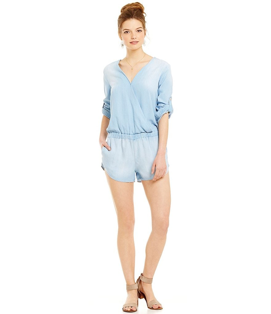 Chelsea & Violet Cross-Front Chambray Romper