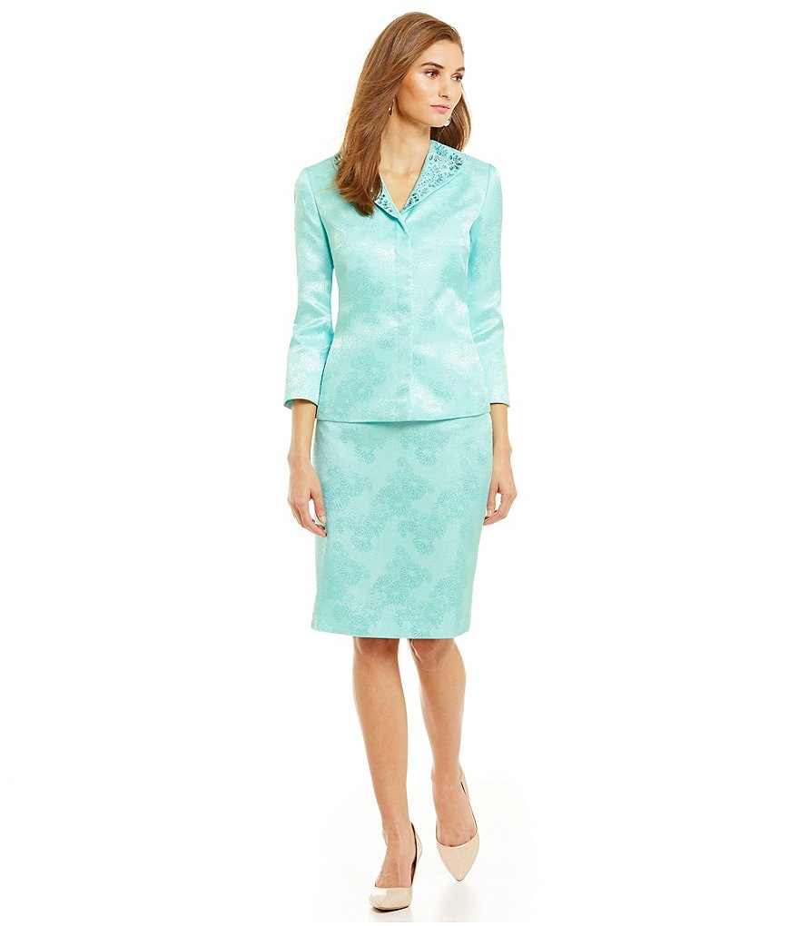 John Meyer 2-Piece Beaded Jacquard Skirt Suit