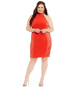 Teeze Me Plus Halter Mock Neck Sequin Side Panel Sheath Dress
