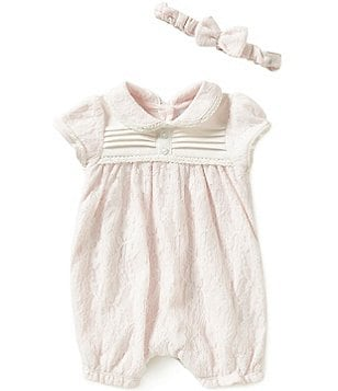 Edgehill Collection Baby Girls Newborn-6 Months Lace Romper and Headband Set