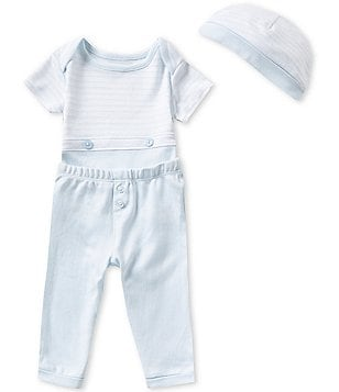Edgehill Collection Baby Boys Newborn-6 Months Bodysuit, Pants, and Hat Set