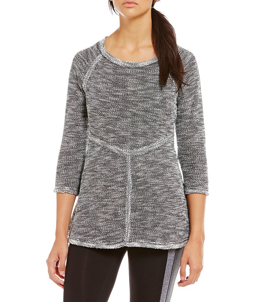 Calvin Klein Performance 3/4 Raglan Sleeve French Terry Pieced Knit Top