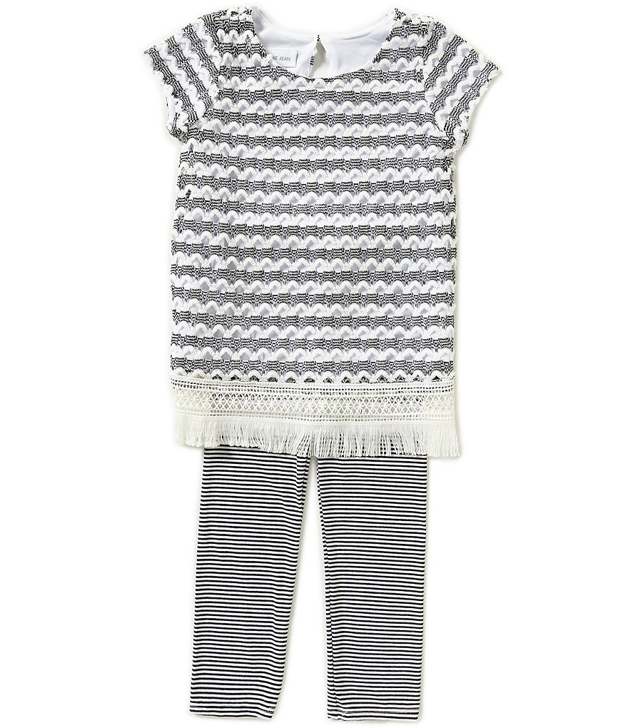 Bonnie Jean Little Girls 2T-6X Crochet Knit Dress and Striped Leggings Set