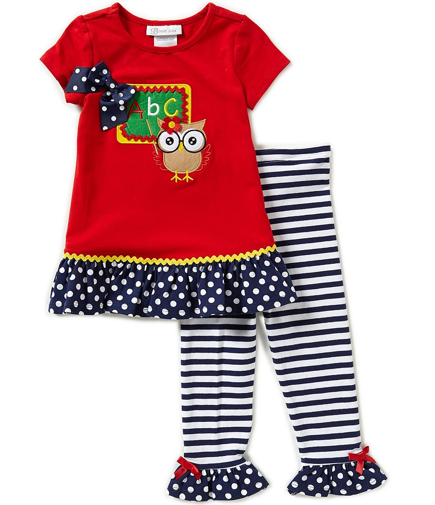 Bonnie Jean Little Girls 2T-6X Back-To-School Knit Dress and Striped Leggings Set