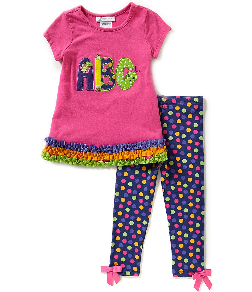 Bonnie Jean Little Girls 2T-6X Back-To-School ABC Shirt and Leggings Set