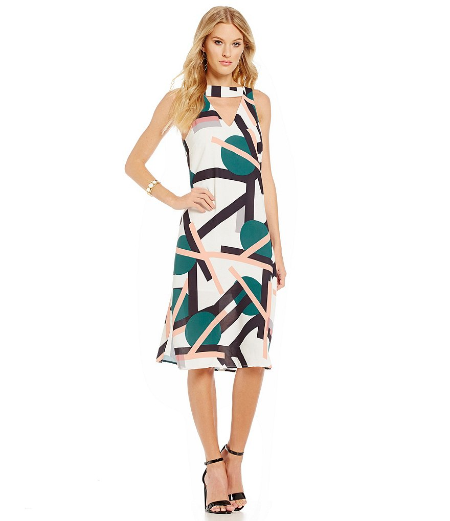 C/MEO All Cried Out Bar-Neck Printed Dress