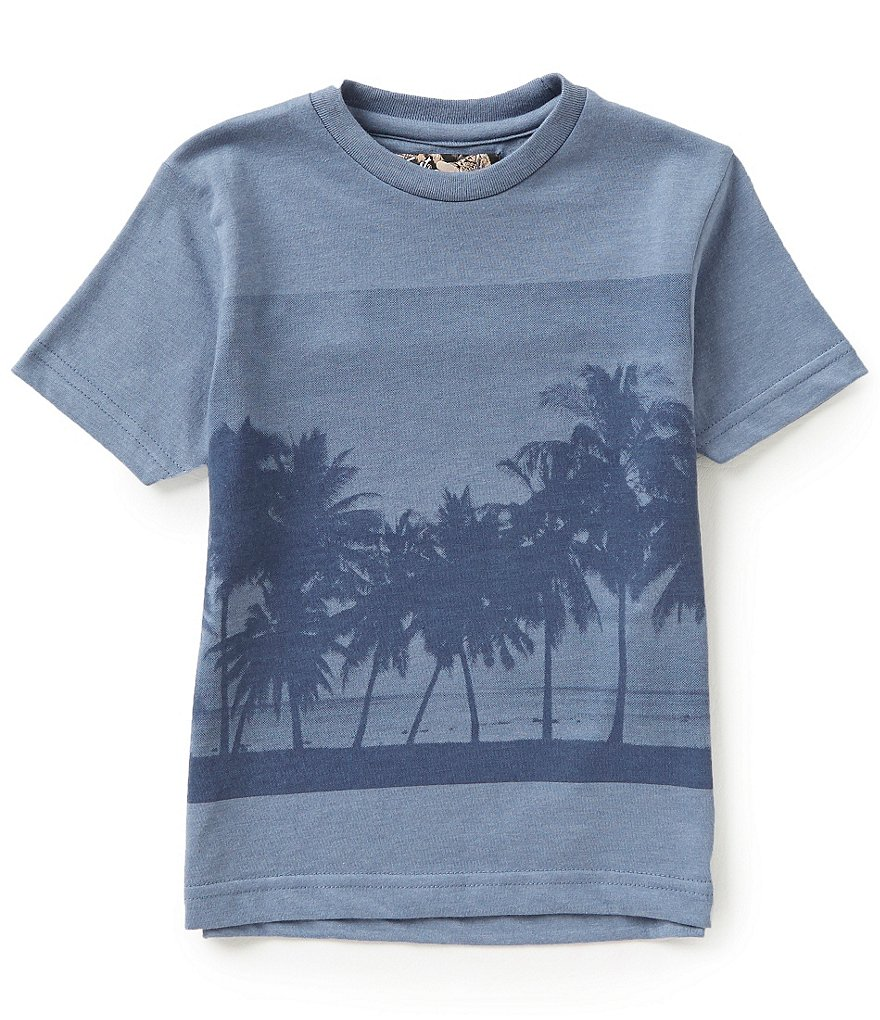 First Wave Little Boys 2T-7 Palm Tree Screen Print Tee
