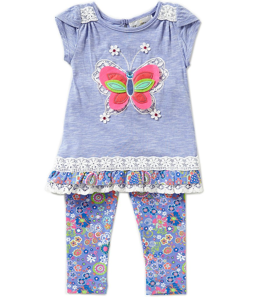 Rare Editions Little Girls 2T-6X 2-Piece Butterfly Applique Leggings Set