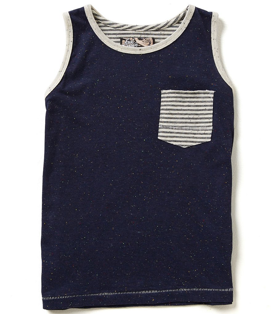 First Wave Little Boys 2T-7 Striped Front Pocket Flecked Tank