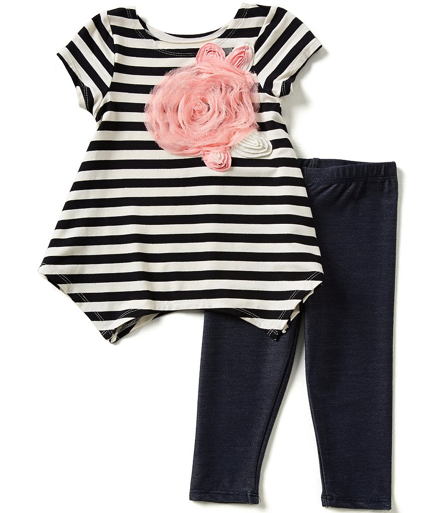 Marmellata Little Girls 2T-6X Striped Top and Solid Capri Leggings Set