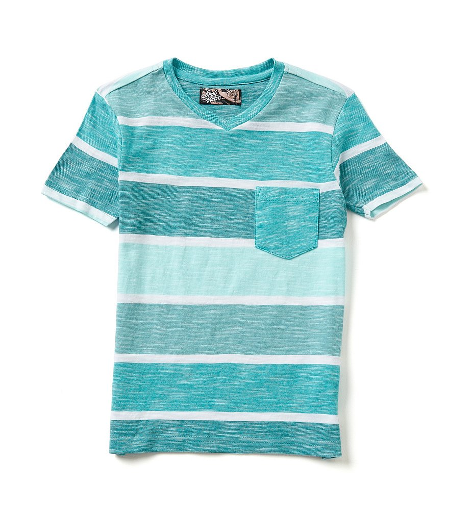 First Wave Big Boys 8-20 Tonal Striped V-Neck Tee