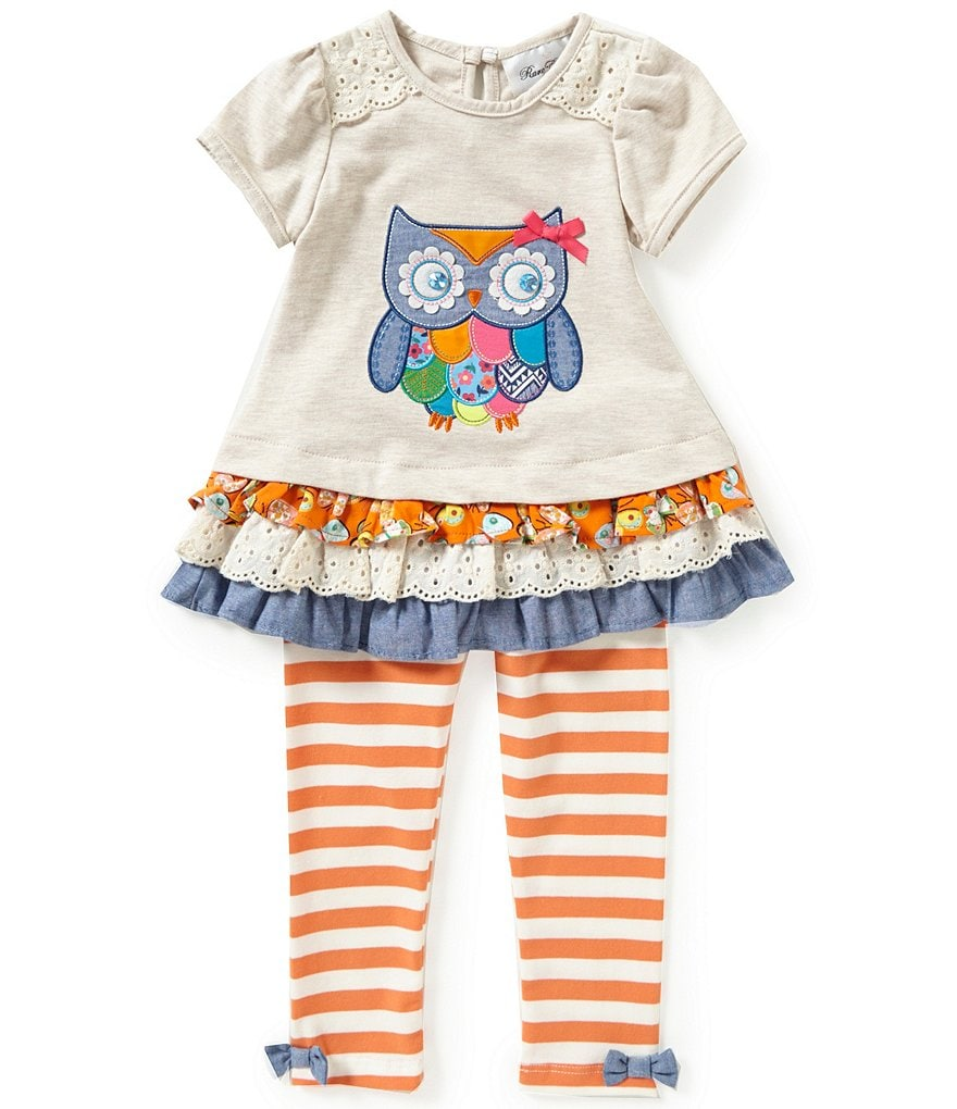Rare Editions Little Girls 2T-6X Owl Top & Striped Pants Set