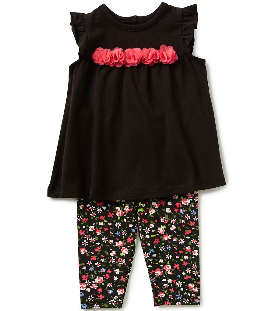 Baby Starters Baby Girls 3-12 Months Rosette-Detailed Tunic and Floral-Printed Leggings Set