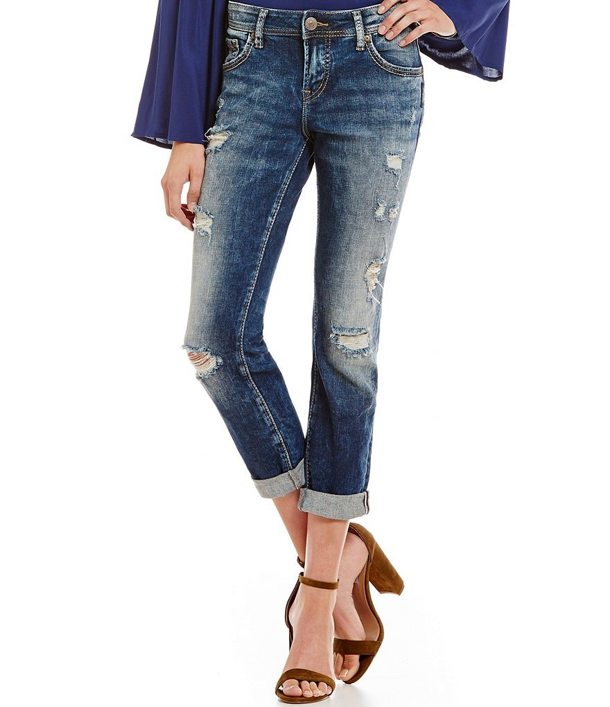 Silver Jeans Co. Destructed Boyfriend Jeans
