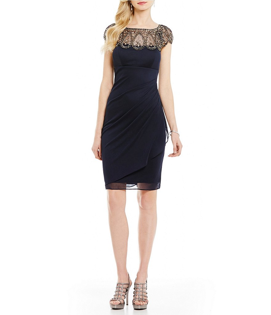 Xscape Beaded Neck Cap Sleeve Ruched Cocktail Dress