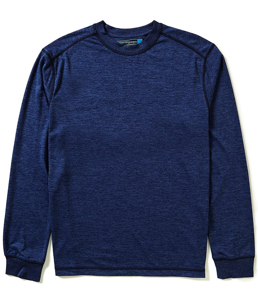 Roundtree & Yorke Performance Heathered Long-Sleeve Crewneck Tee
