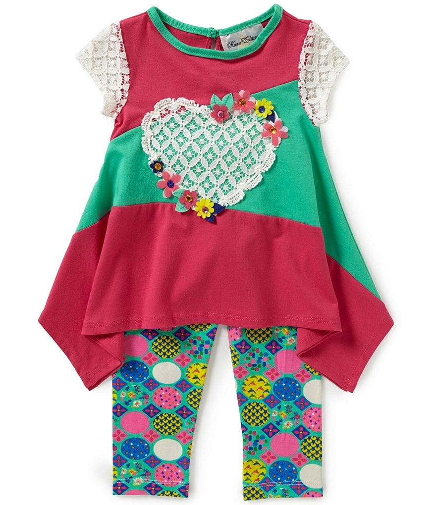 Rare Editions Little Girls 2T-6X Color Block Heart-Appliqué Top and Pants Set