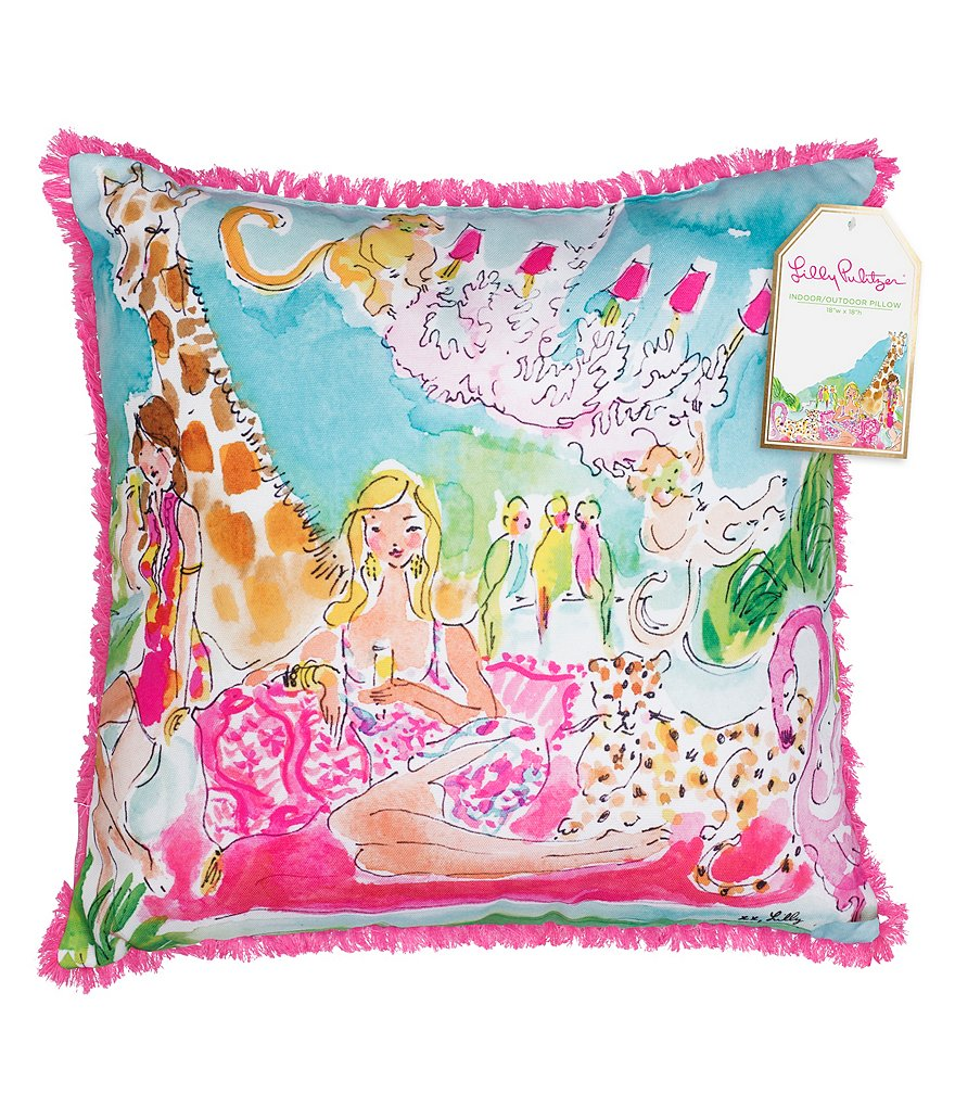 Lilly Pulitzer Zoo Party Indoor/Outdoor Square Pillow