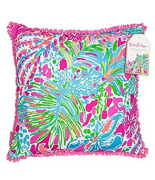 Lilly Pulitzer Spot Ya Floral Indoor/Outdoor Canvas Square Pillow with Frayed Fringe Trim
