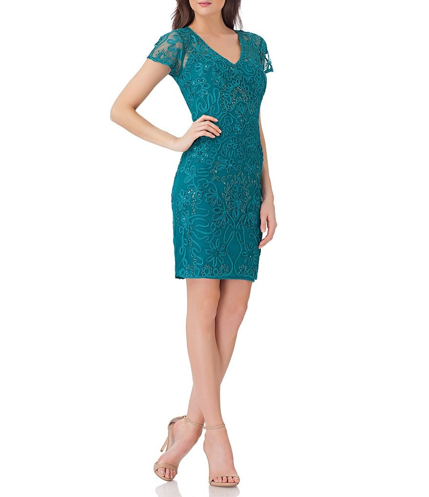 JS Collections Beaded Soutache Sheath Dress