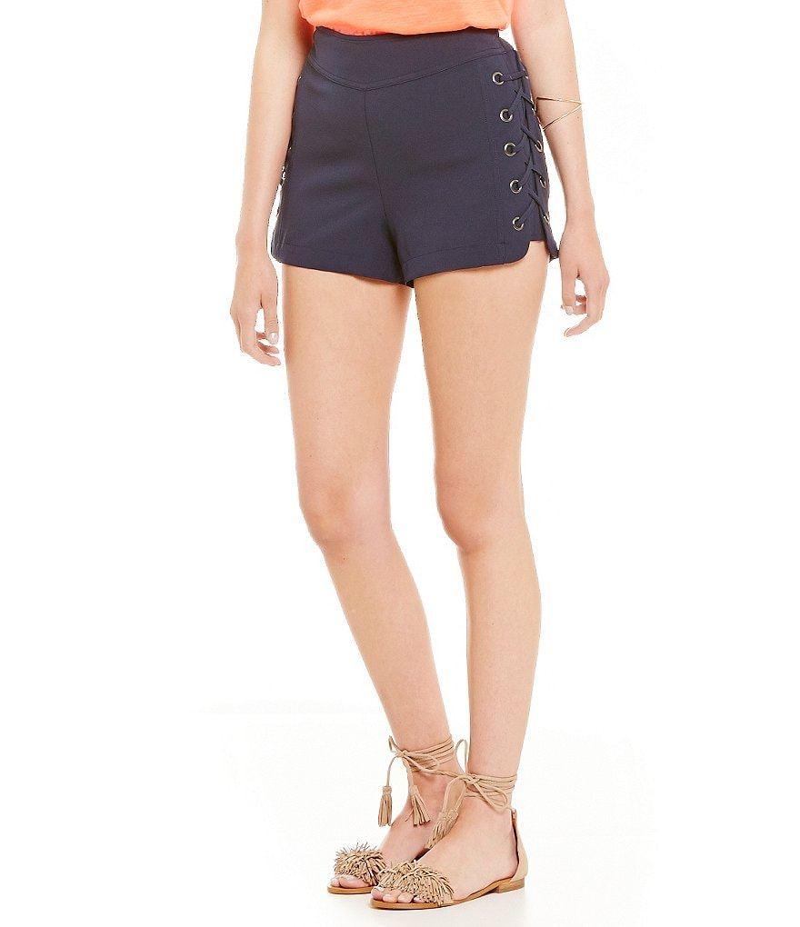 Skies Are Blue Side Lace-Up Short Shorts