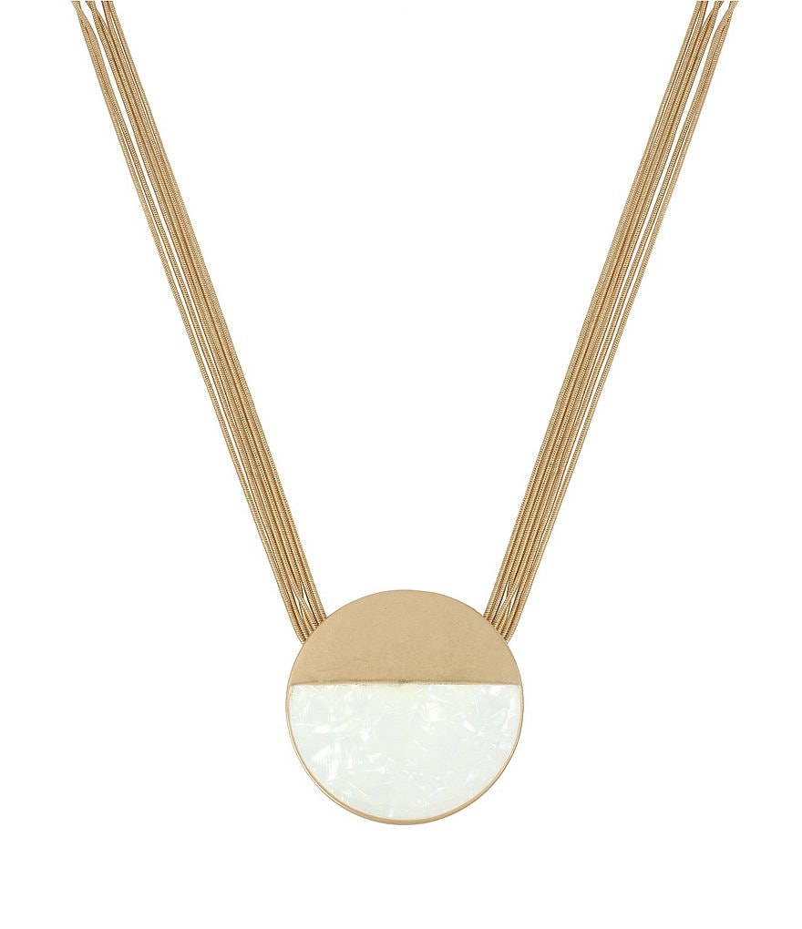 Kenneth Cole New York Shell Geometric Circle Pendant Necklace