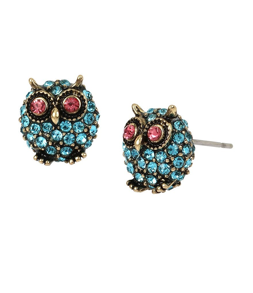 Betsey Johnson Pavé Owl Stud Earrings