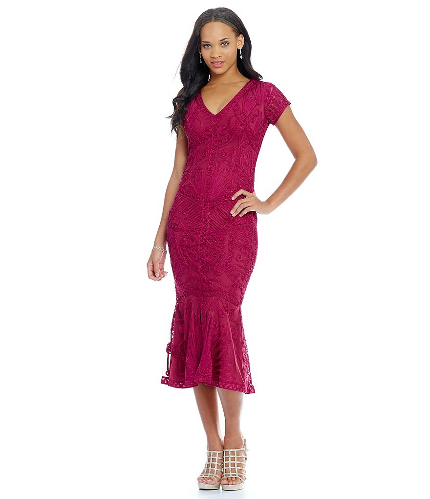 JS Collections V-Neck Soutache Midi Dress