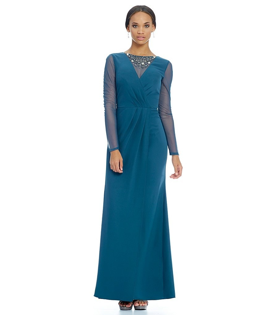 JS Collections Beaded Illusion Faux-Wrap Gown