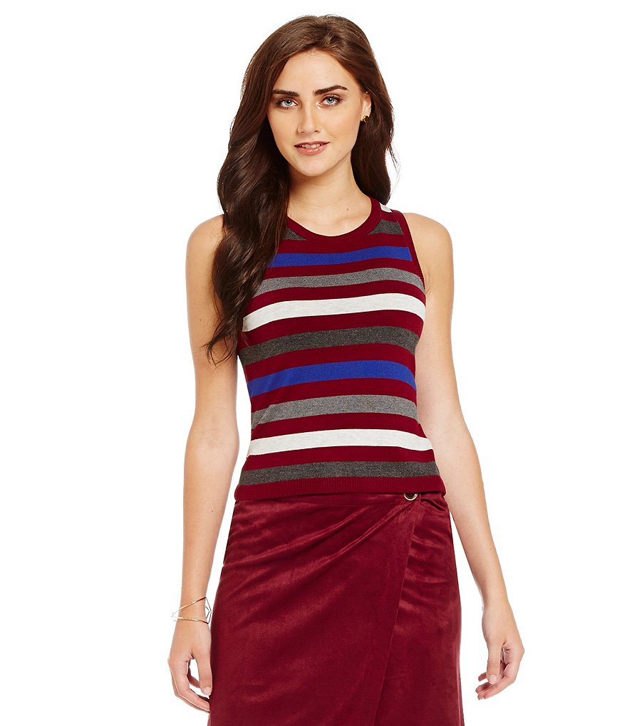 kensie Soft Crop Sleeveless Sweater Top
