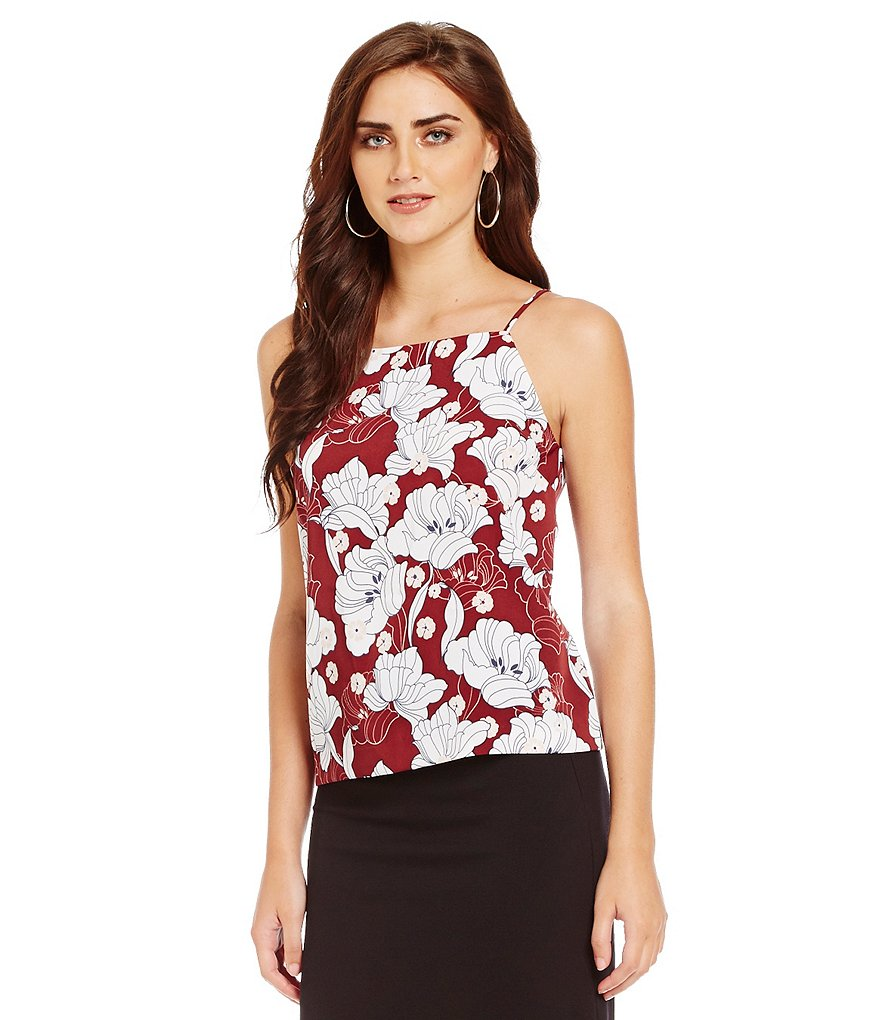 kensie Hippy Floral Square Neck Sleeveless Tank