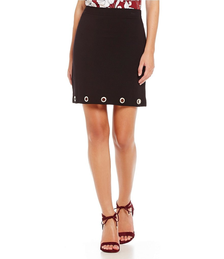 kensie Twill Ponte A-Line Studded Keyhole Skirt