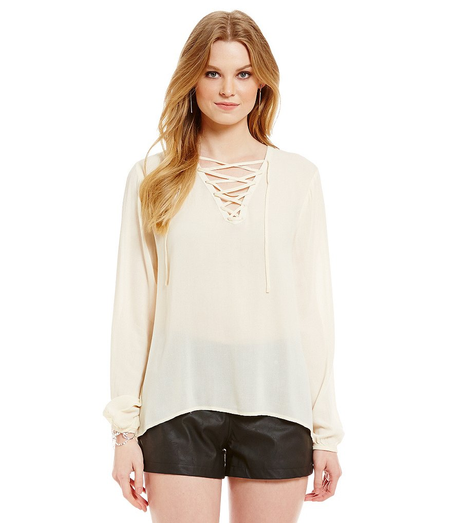Jack by BB Dakota Drapey Lace-Up Top
