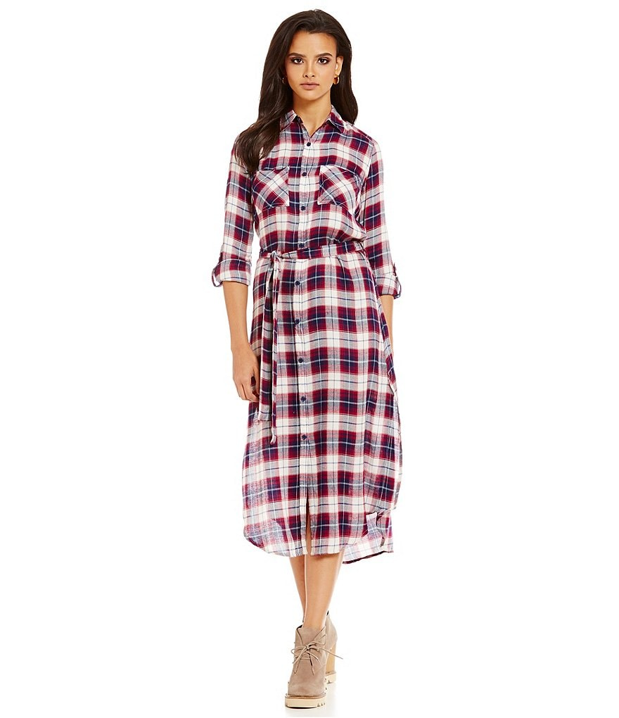 JACK by BB Dakota Plaid Midi Drape Button-Front Shirt Dress
