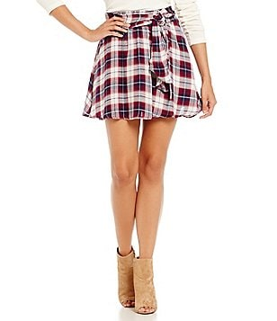 JACK by BB Dakota Fritz Plaid Faux-Wrap Skirt