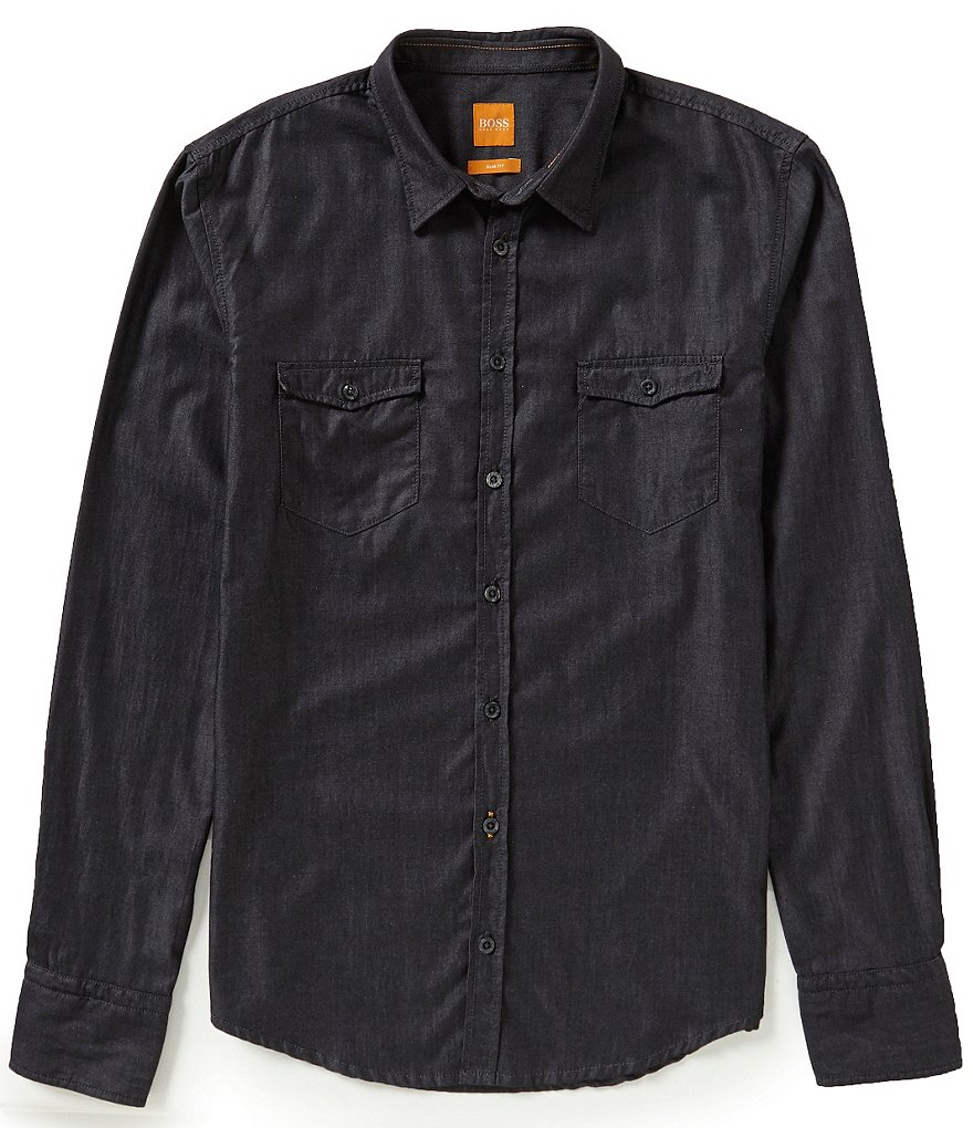 BOSS Orange Long-Sleeve Edoslime Solid Twill Woven Shirt