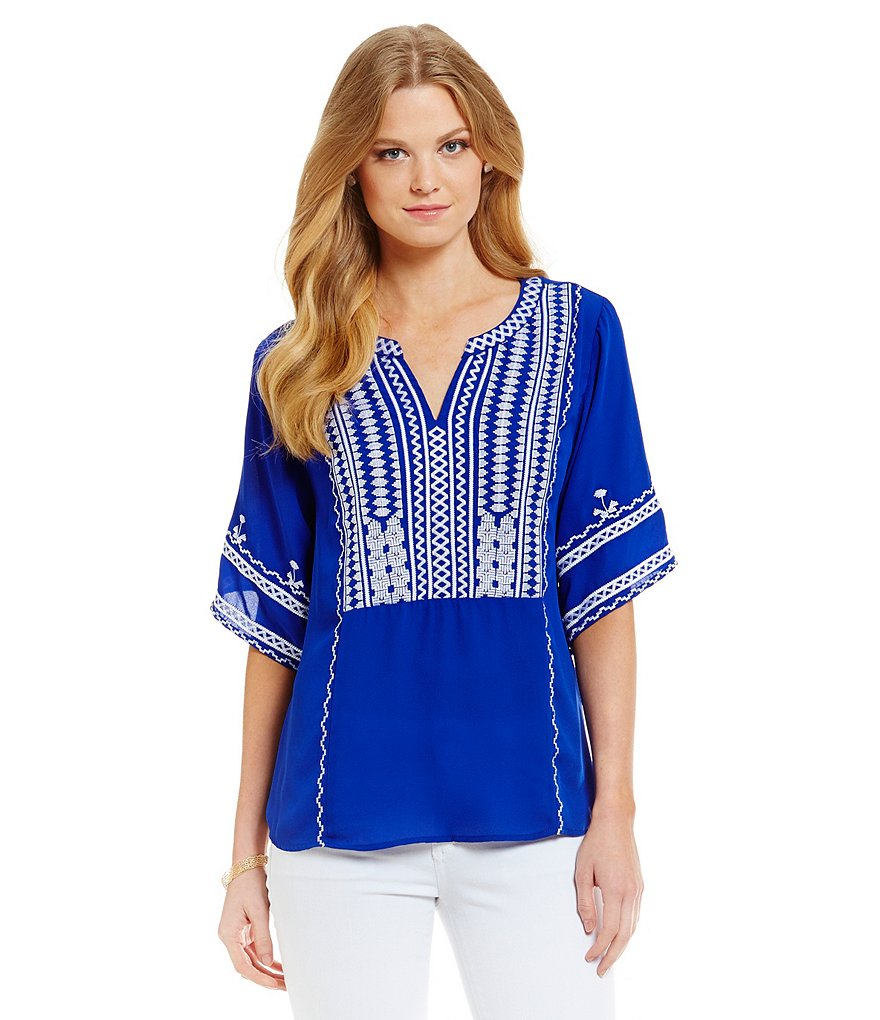 Skies Are Blue Embroidered Chiffon Boho Top