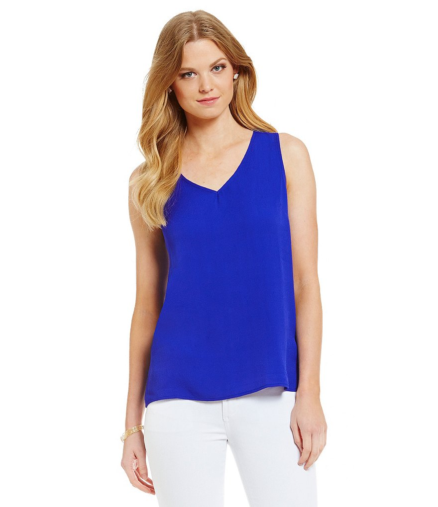 Skies Are Blue Sleeveless V-Neck Top