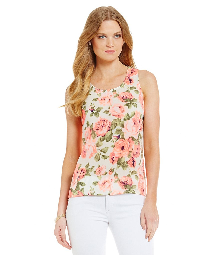 Skies Are Blue Floral Sleeveless Top
