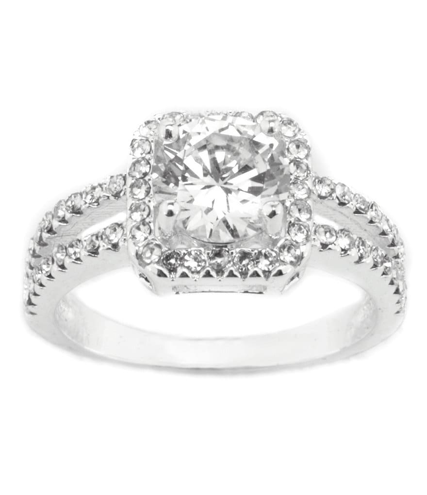 Dillard´s Boxed Collection Square Pavé Cubic Zirconia Engagement Ring