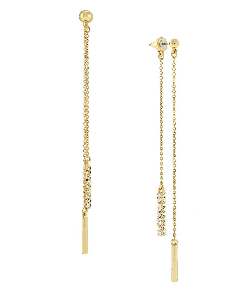 Vince Camuto Fine Drama Pavé Front/Back Linear Drop Earrings