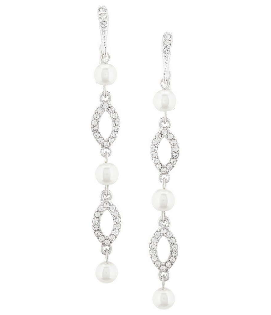 Givenchy Triple Pearl and Crystal Linear Earrings