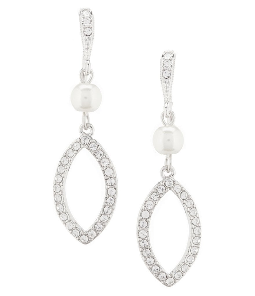 Givenchy Pearl and Crystal Double Drop Earrings