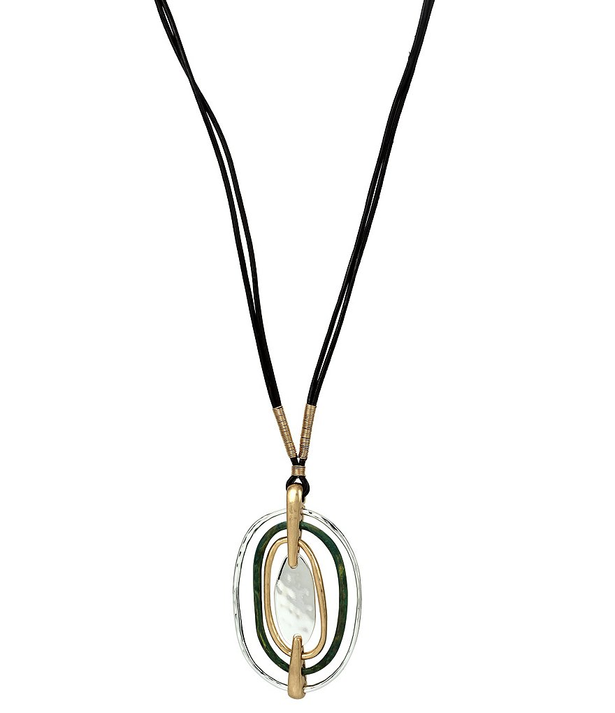 Robert Lee Morris Soho Tri-Tone Sculptural Oval Pendant Necklace