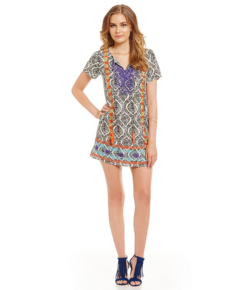 THML Embroidered Printed Short Sleeve Dress
