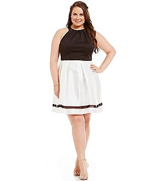 Teeze Me Plus Color Block Open-Back Scuba & Sateen Halter Party Dress