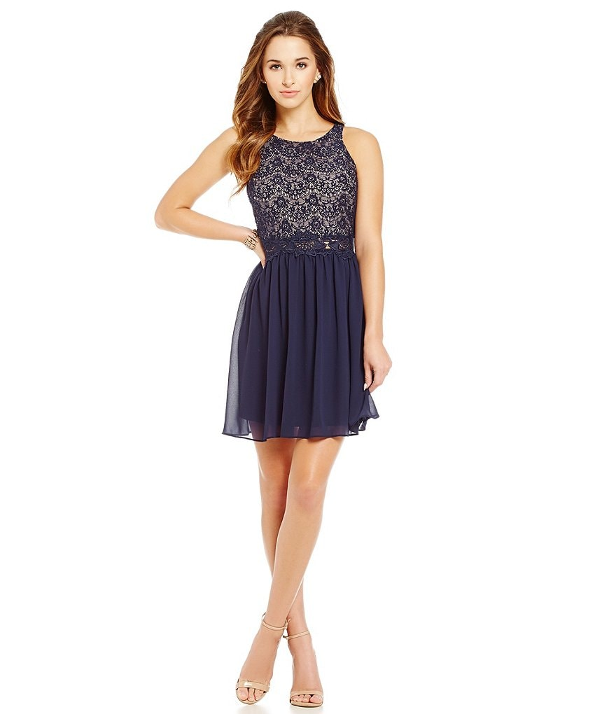 I.N. San Francisco Lace Bodice Crochet Illusion Waist Fit-and-Flare Dress
