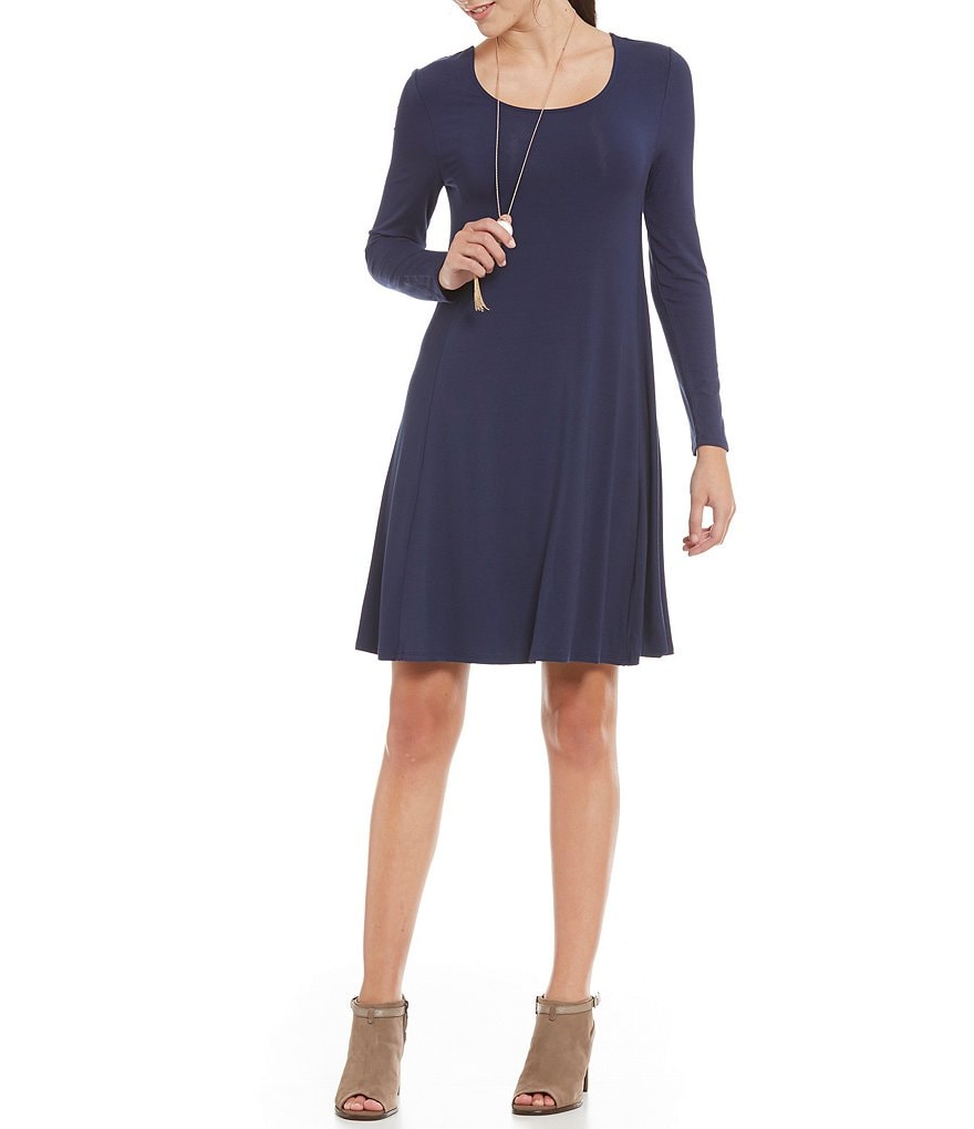 Intro Long Sleeve Solid Pull-Over Swing Dress