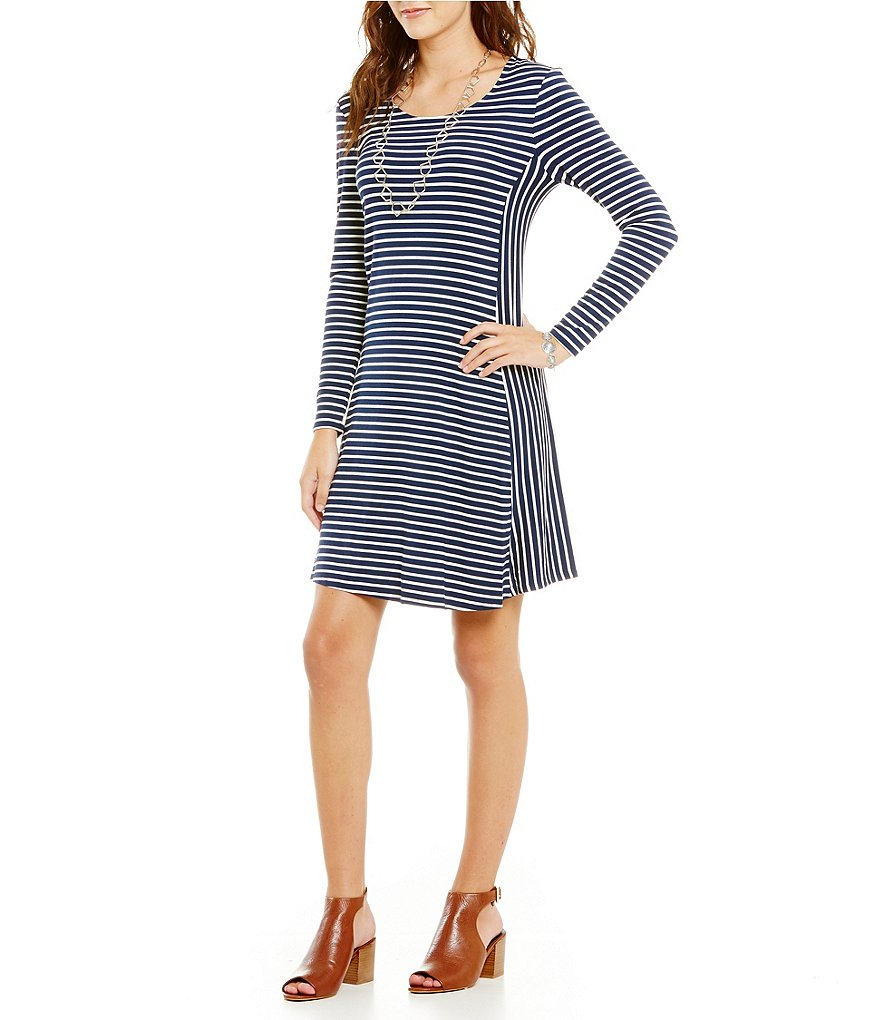 Intro Long Sleeve Striped Pull-Over Swing Dress