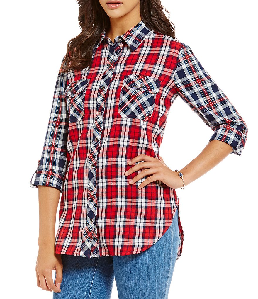 Intro 3/4 Sleeve Cotton Mixed Plaid 2-Pocket Button Front Shirt